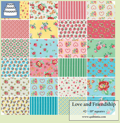 Love and Friendship - 10 Charm Squares - 42 squares