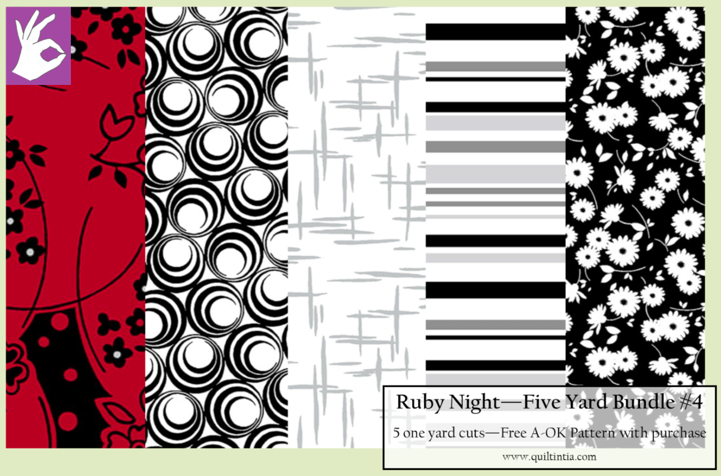 Ruby Night - Five Yard Bundle #4 - Free A-OK Pattern with Purchase
