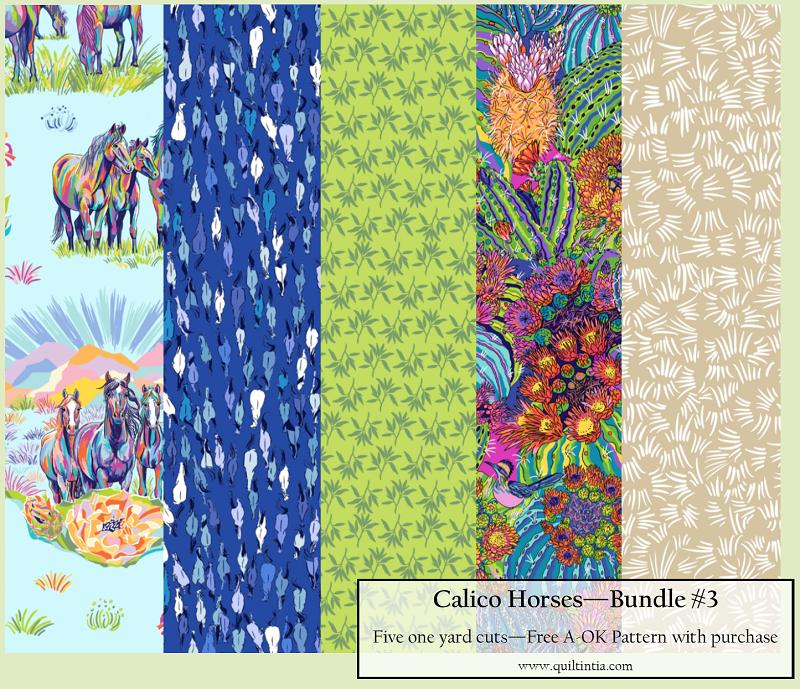 Five Yard Bundle - Calico Horses #3 - FREE A-OK PATTERN