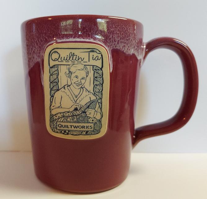 Quiltin' Tia Hand Thrown Mug - Cranberry