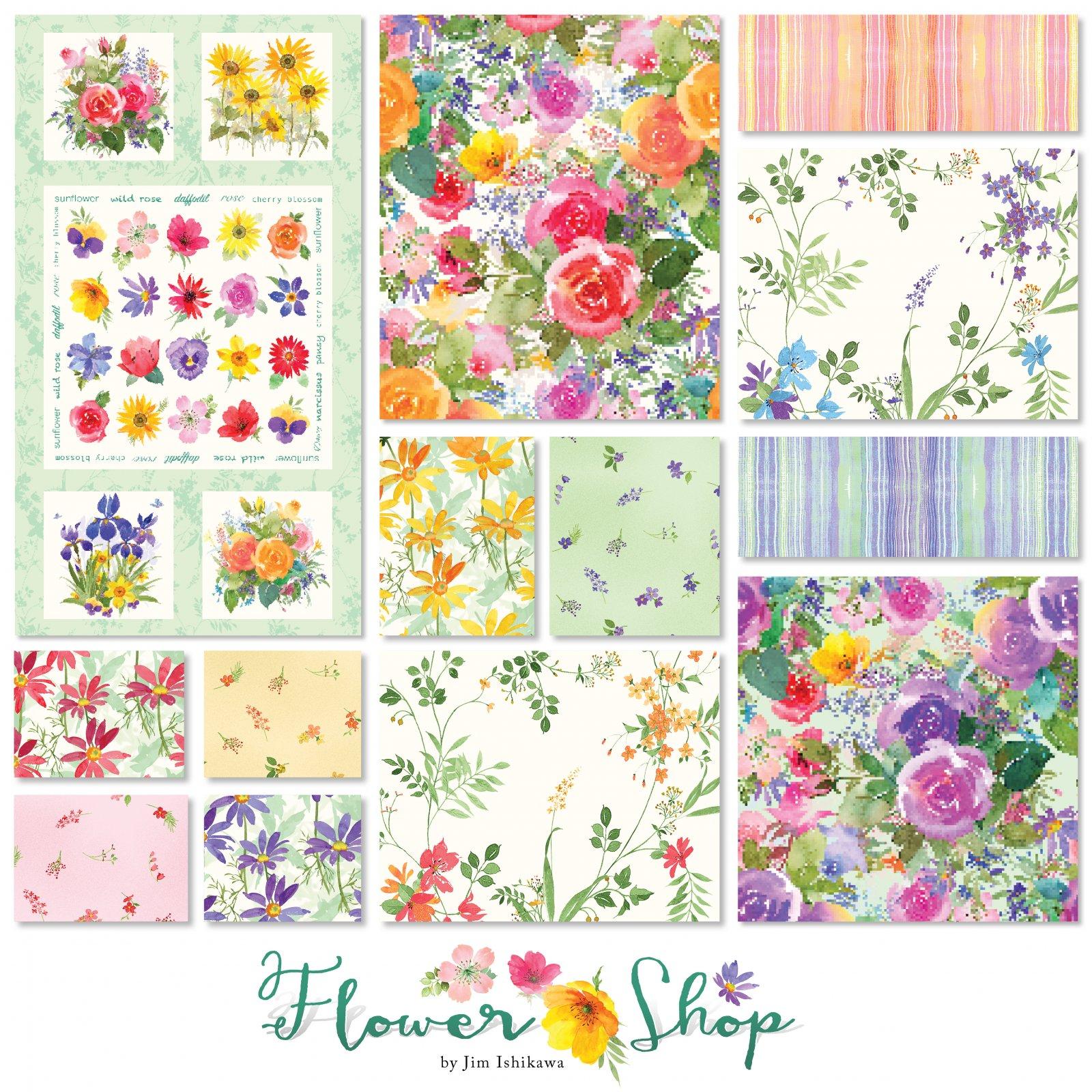 Flower Shop - 1 Panel and 12 Fat Quarters