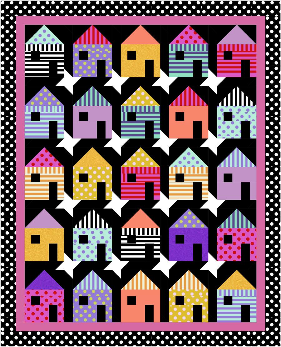 Tula Pink Basics Houses on My Street Quilt Kit