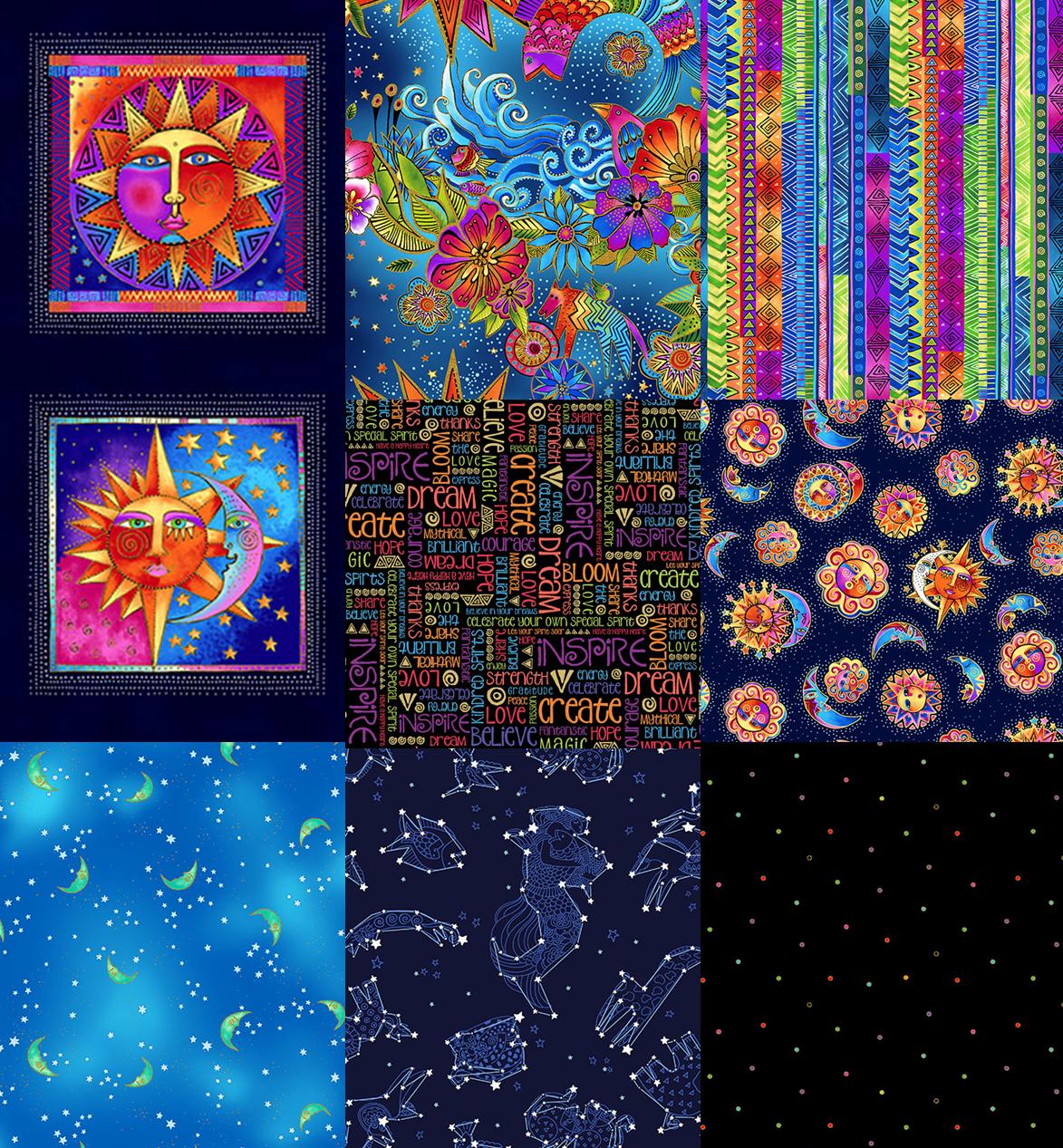 Laurel Burch - Celestial Magic - 1 Panel and 7 Fat Quarters