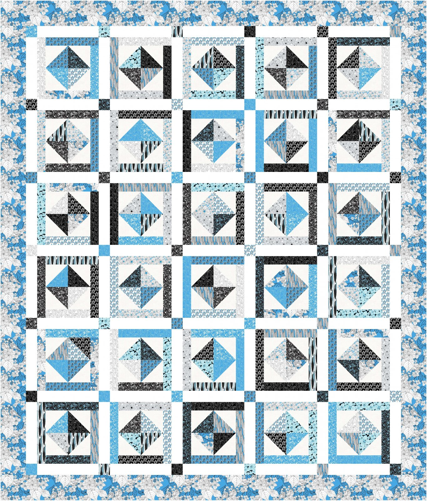 Ivory Woods -  Mother's Mistake Quilt Kit  - Blue - 76 x 89