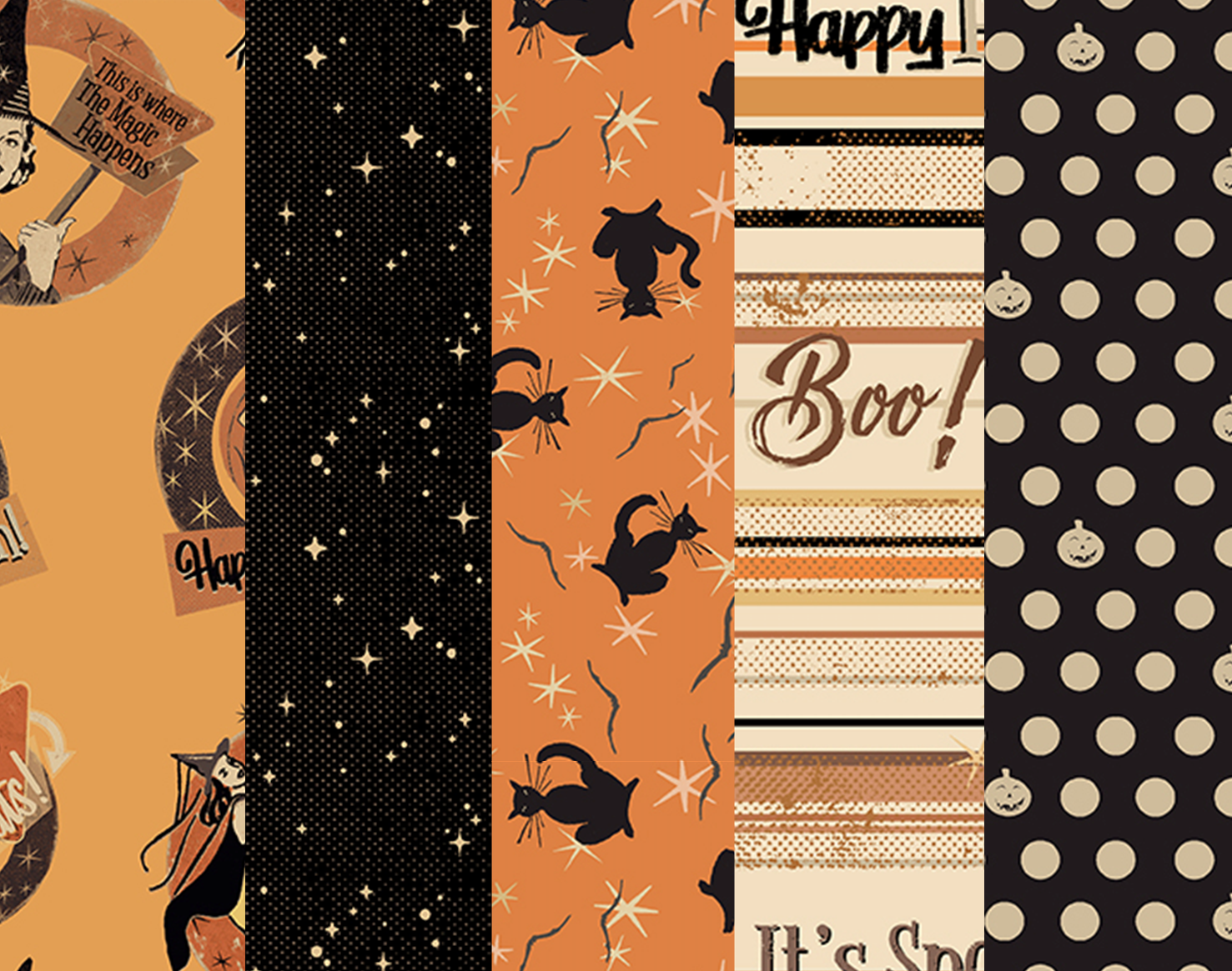 Retro Halloween - 5 one yard cuts - Free A-OK Pattern with Purchase