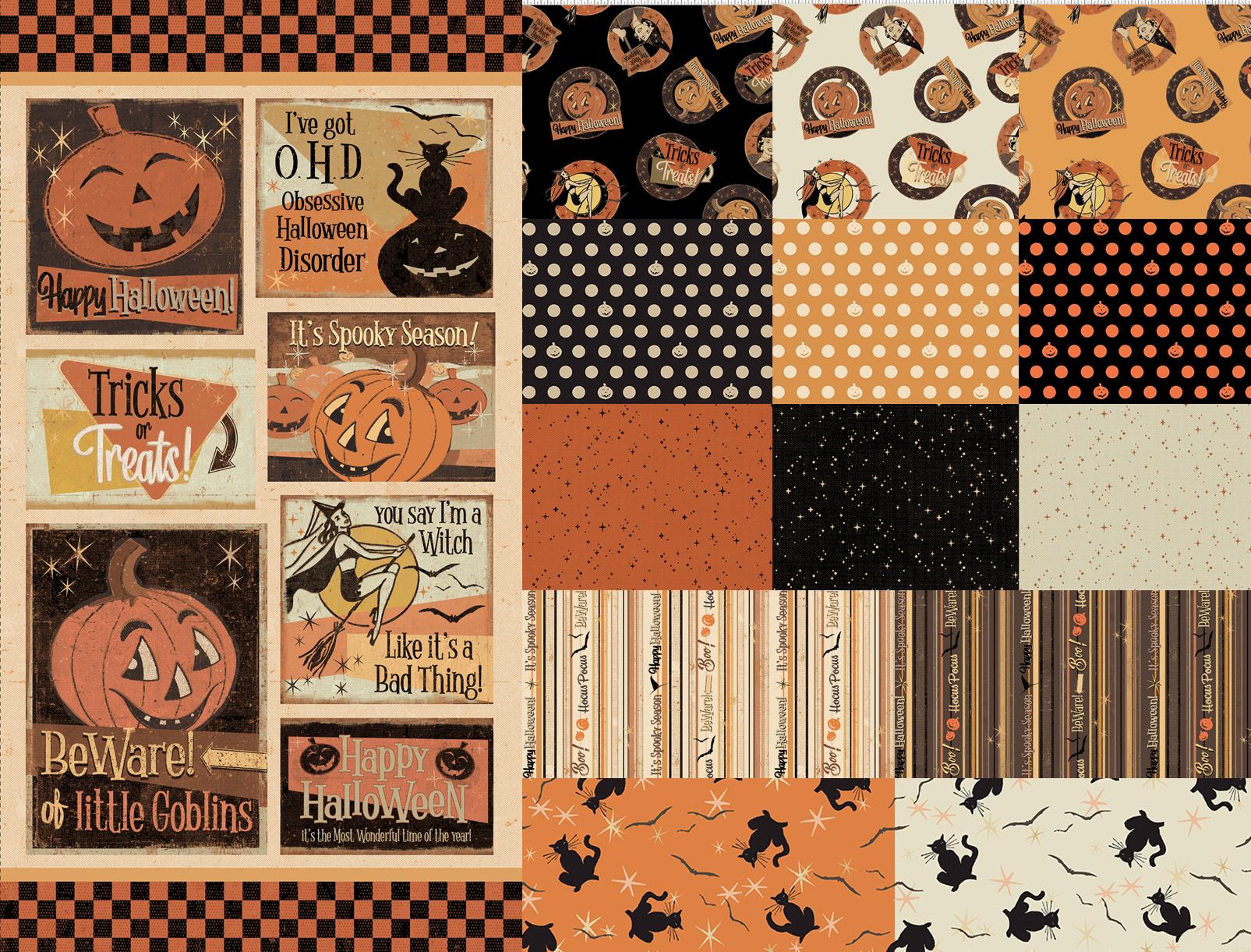 Retro Halloween - Panel and 13 Fat Quarters