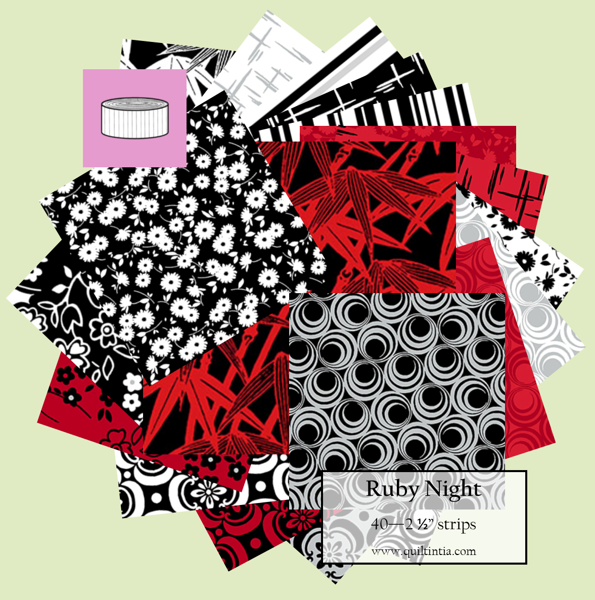 Ruby Night - 2 1/2 strip roll (40 strips)