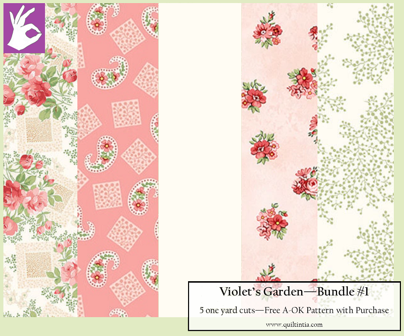 Five Yard Bundle - Violet's Garden #1 - FREE A-OK Pattern with Purchase