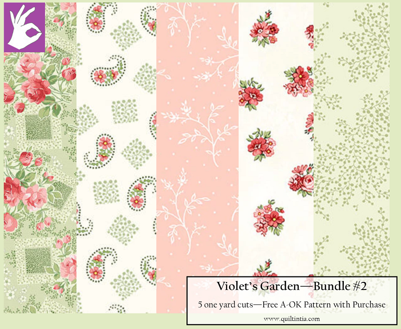 Five Yard Bundle - Violet's Garden #2 - FREE A-OK Pattern with Purchase
