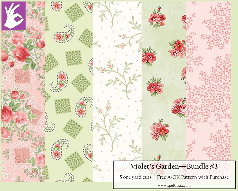 Five Yard Bundle - Violet's Garden #3 - FREE A-OK Pattern with Purchase