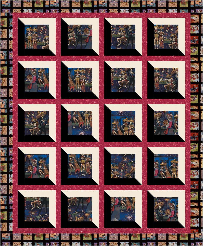 Dia de los Muertos Viewed Quilt Kit