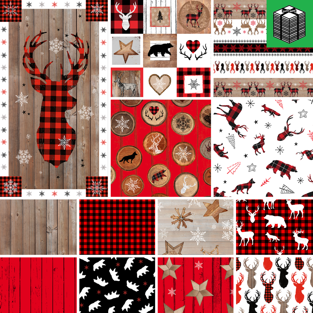 Warm Winter Wishes - 1 Panel and 12 Fat Quarters