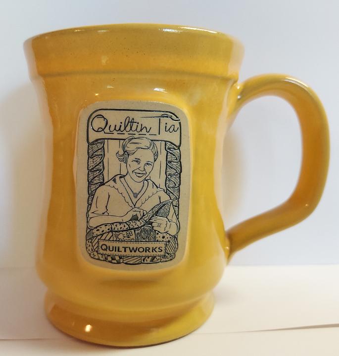 Quiltin' Tia Hand Thrown Mug - Yellow