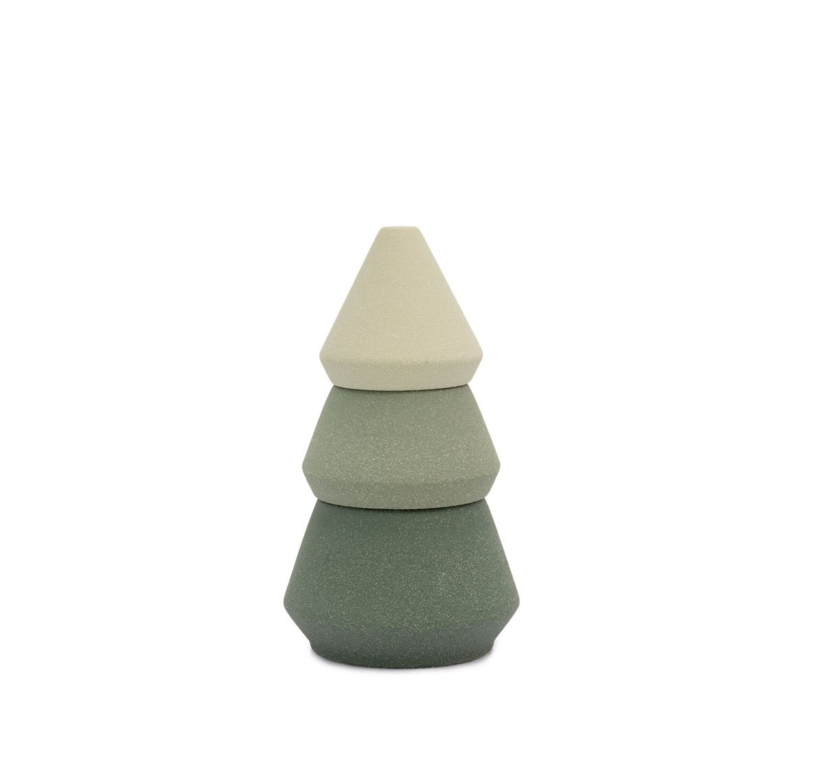 CYPRESS & FIR 16 OZ (10.5 + 5.5 OZ) LARGE GREEN OMBRE SPECKLED TEXTURED CERAMIC TREE STACK