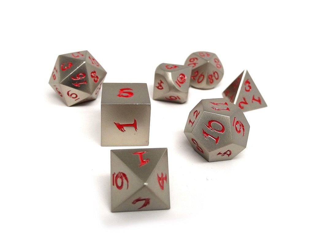 Metal Dice of Ancient Dragons - Ancient Silver - Red Font