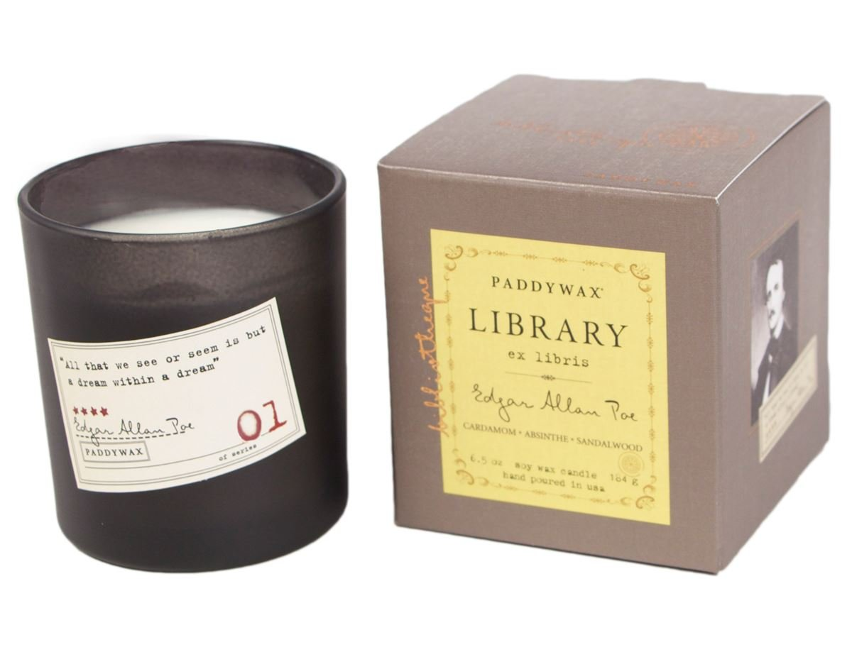 PADDYWAX- LIBRARY 6 OZ BOXED GLASS - EDGAR ALLEN POE Cardamom Absinthe & Sandalwood