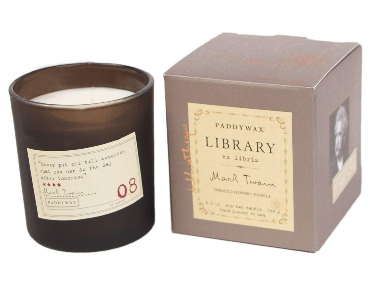 PADDYWAX- LIBRARY 6 OZ BOXED GLASS - MARK TWAIN Tobacco Flowers & Vanilla