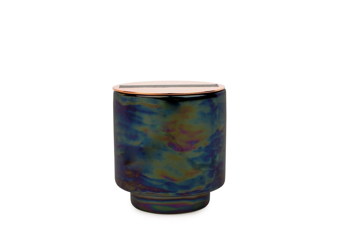 GLOW 5 OZ BLACK IRIDESCENT CERAMIC WITH COPPER LID - INCENSE & SMOKE