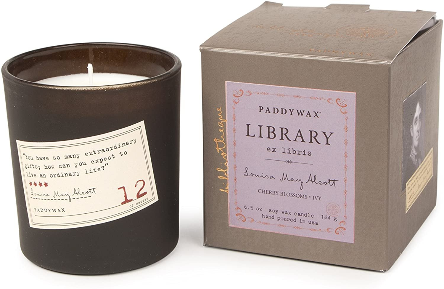 PADDYWAX- LIBRARY 6 OZ BOXED GLASS - LOUISIA MAY ALCOTT Cherry Blossoms & Ivy