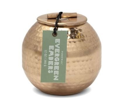 PADDYWAX PATINA 12 OZ COPPER HAMMERED METAL CONTAINER WITH LID - EVERGREEN EMBERS