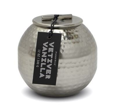 PADDYWAX PATINA 12 OZ SILVER HAMMERED METAL CONTAINER WITH LID - VETIVER VANILLA