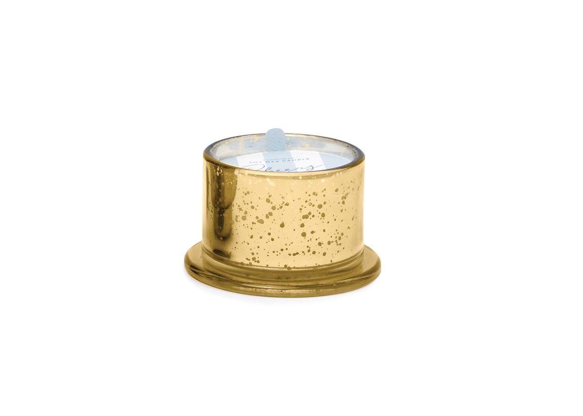 TINSEL 4.5 OZ GOLD MERCURY GLASS 'CHEERS' - MULLING SPICES & CINNAMON