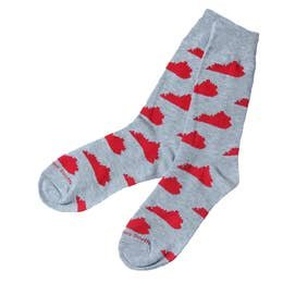 Barrel Down South Gray and Red Kentucky Socks