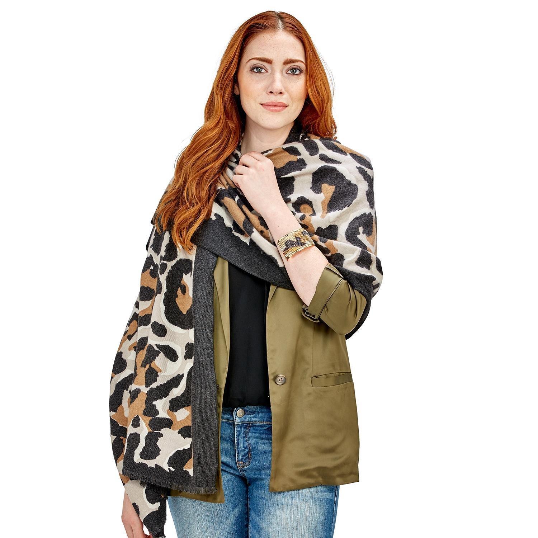 Two's Company Cashmere Like Leopard Scarf