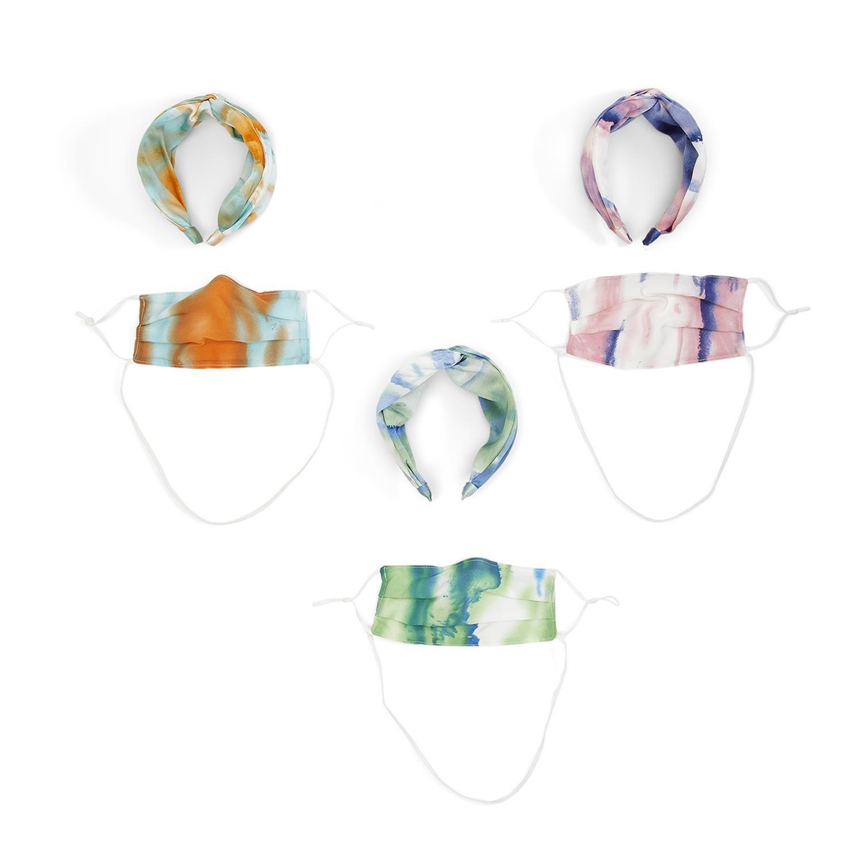 Tie Dye Twisted Wide Headband & Mask