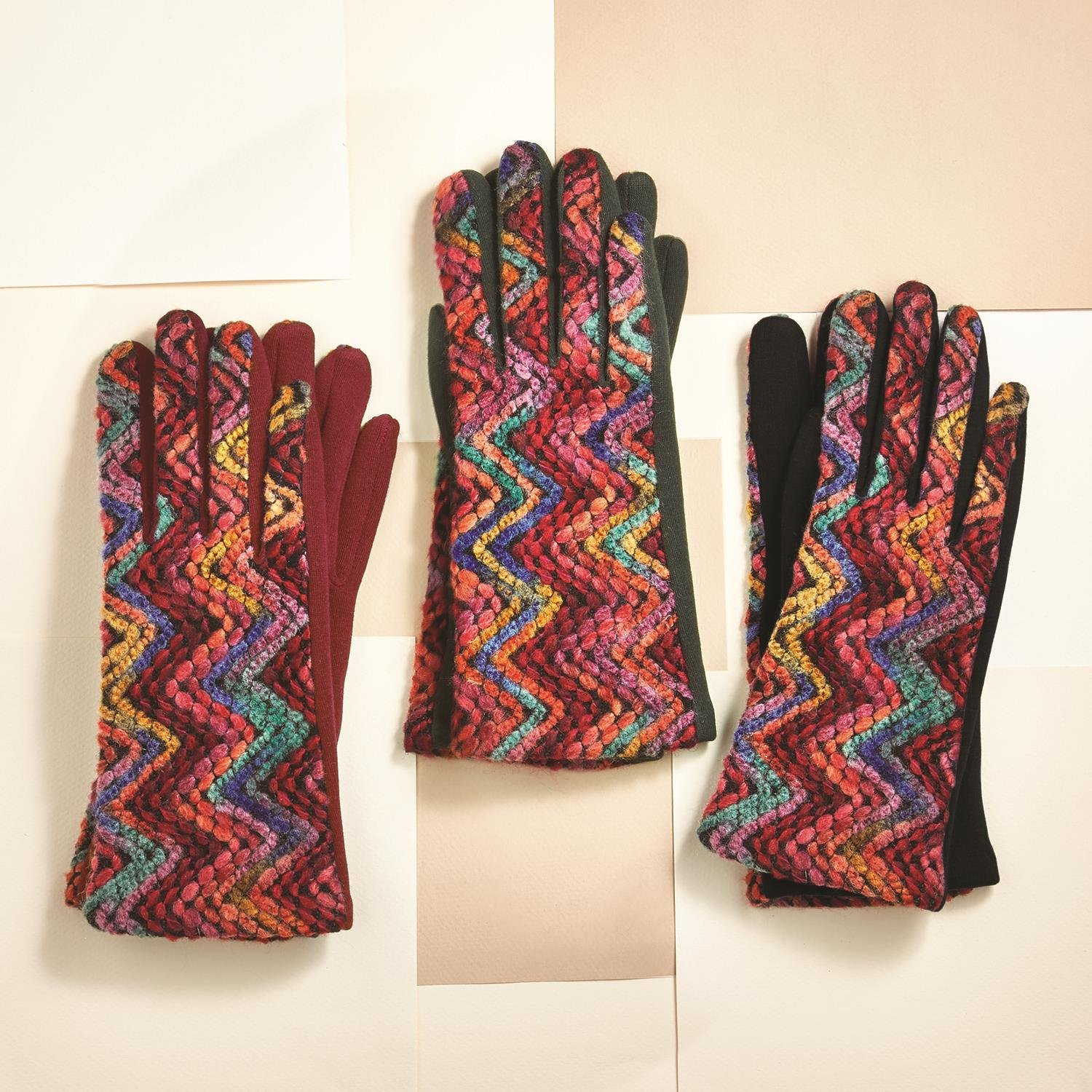 Two's Company Embroidered Gloves Multicolor