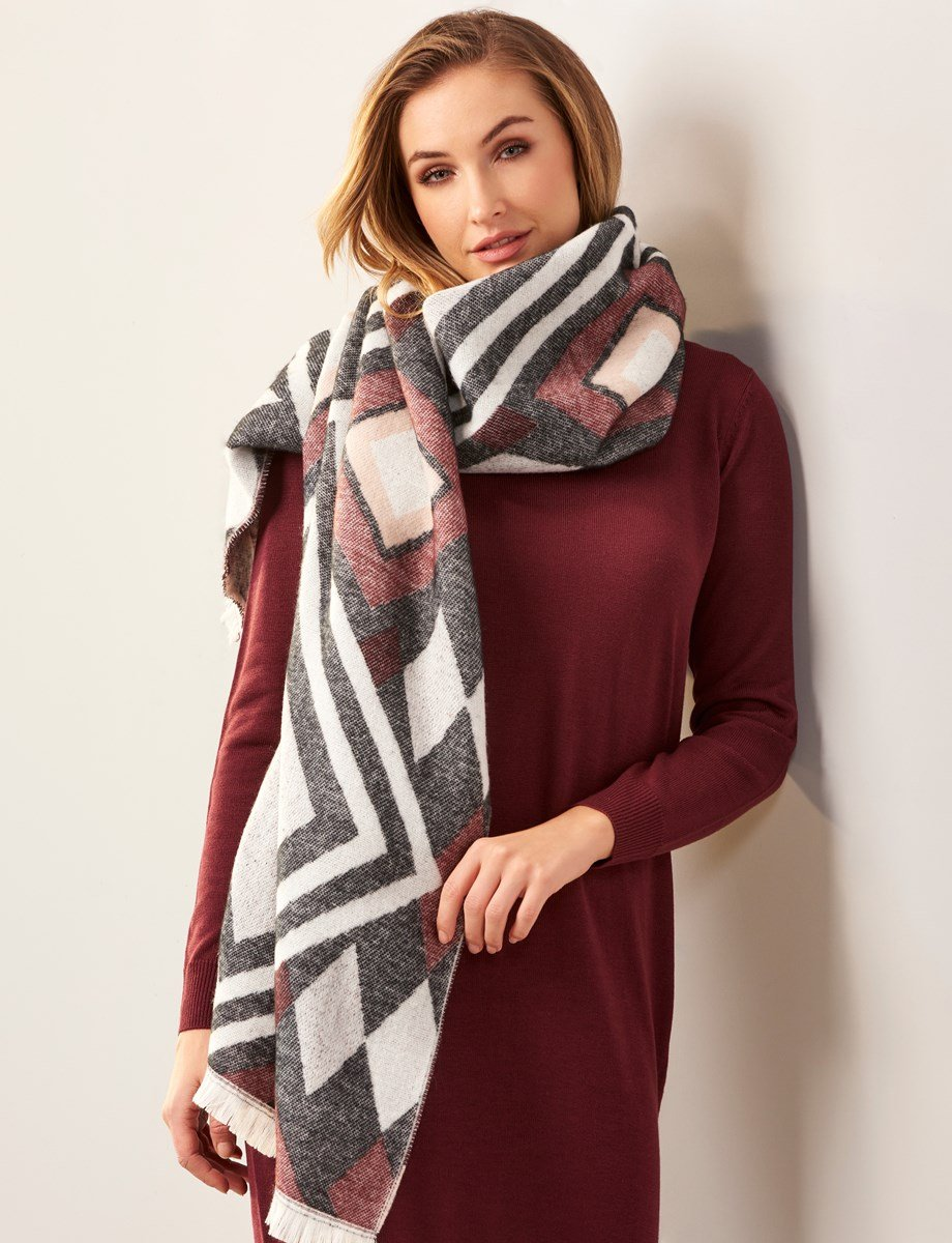 Charlie Paige 2 - Mauve/Gray/White/Pink Scarf