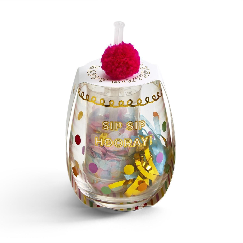 Two's Company Sip Sip Hooray Wine Glass