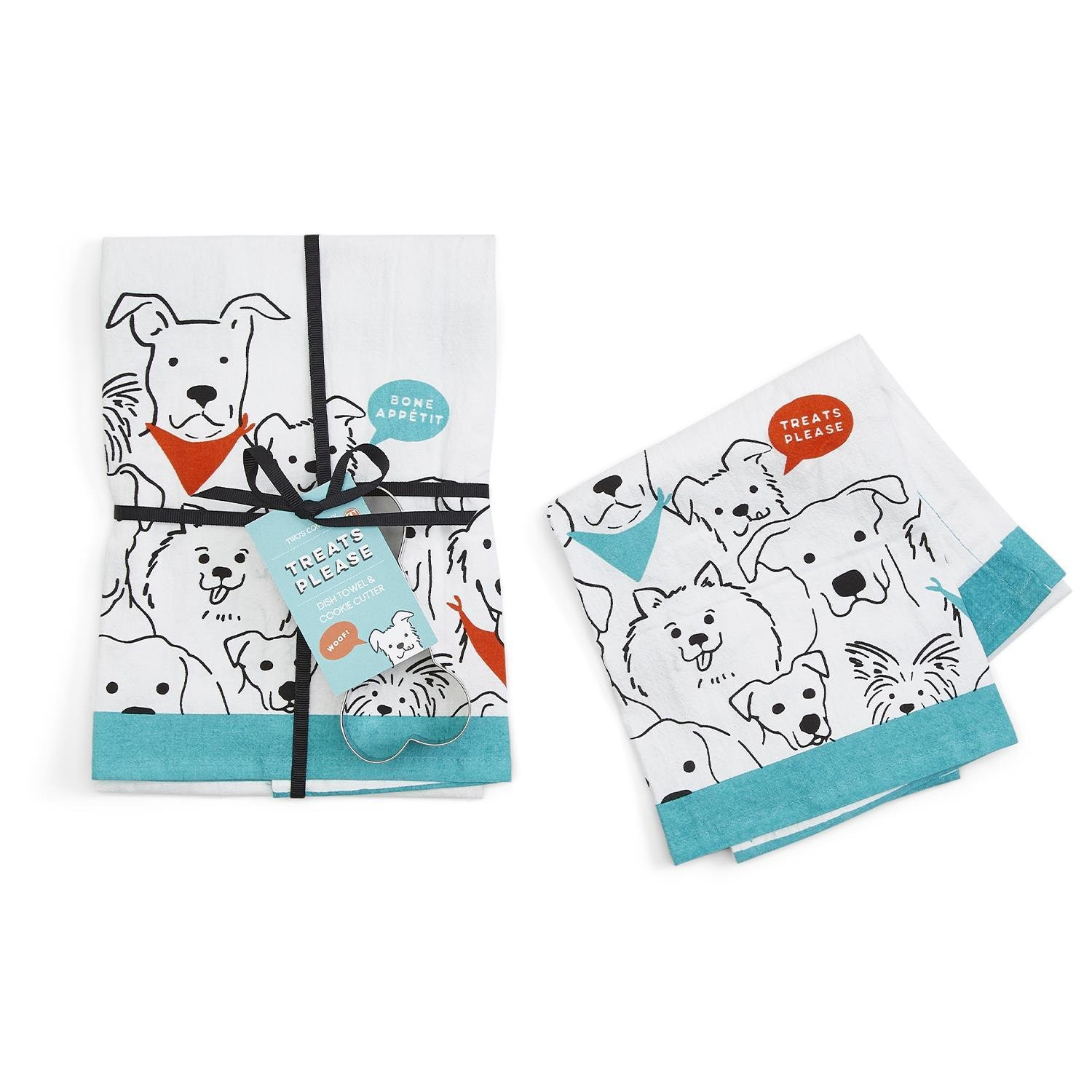 Two's Company Dog Crew Dish Towel and Cookie Cutter
