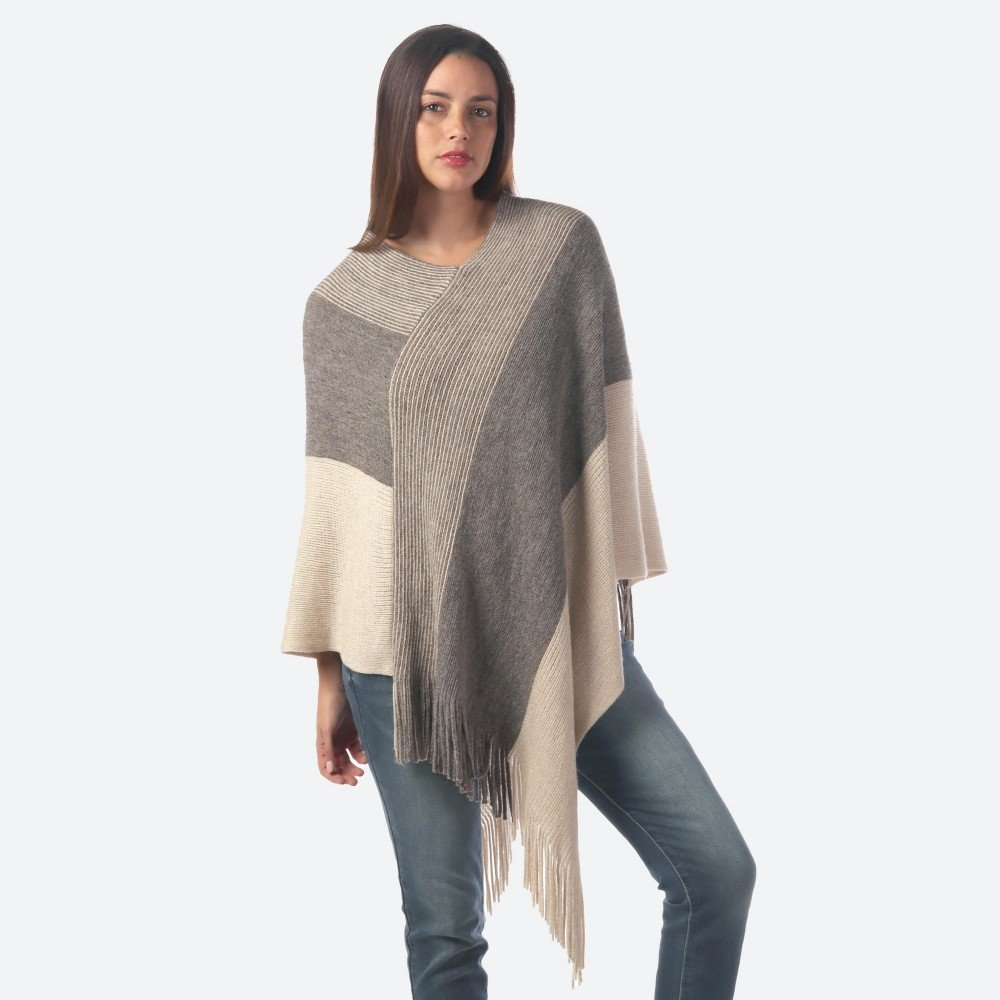 JUD Wide Knit Poncho Ivory