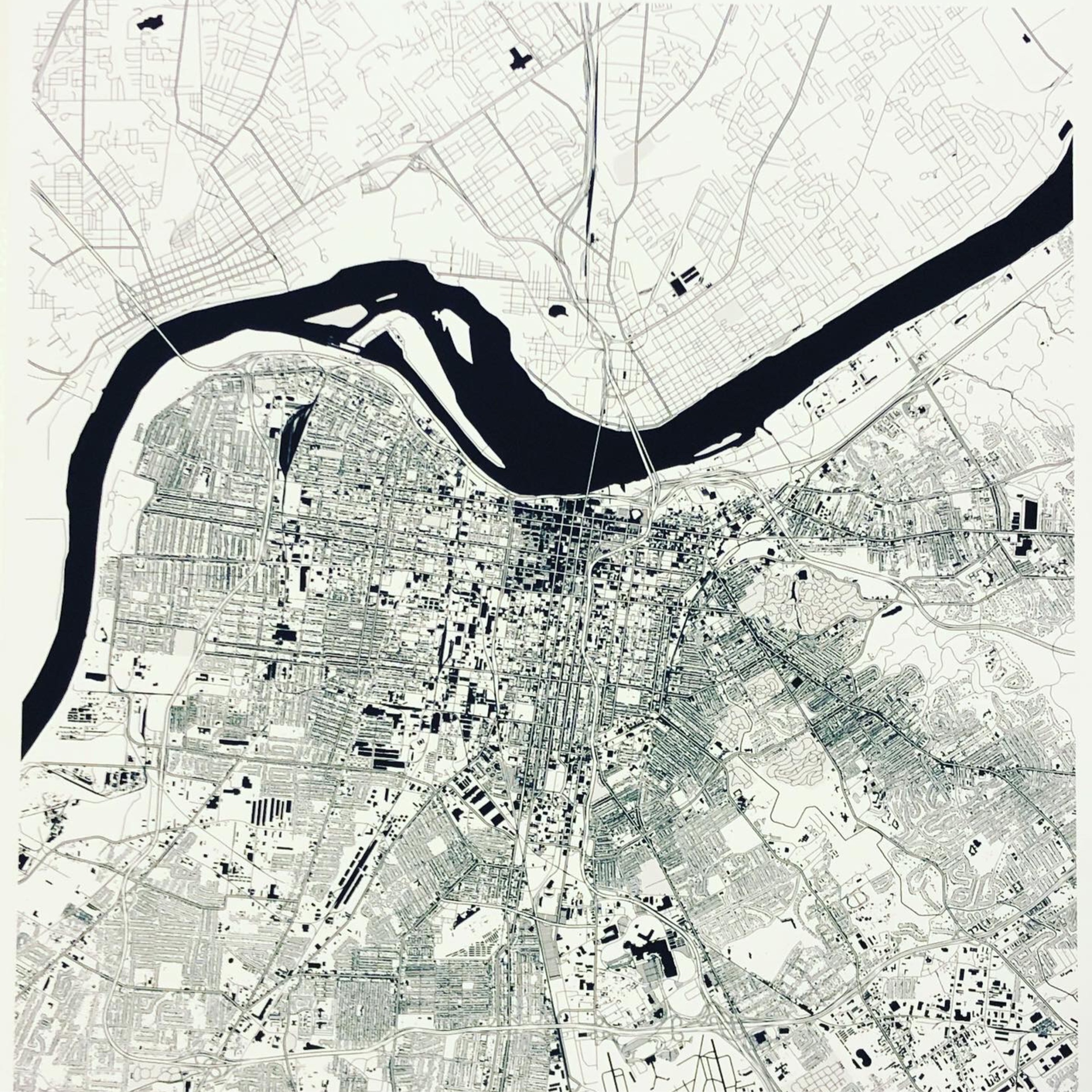 LOUISVILLE Map Black and White by Olivier Gratton Gagn