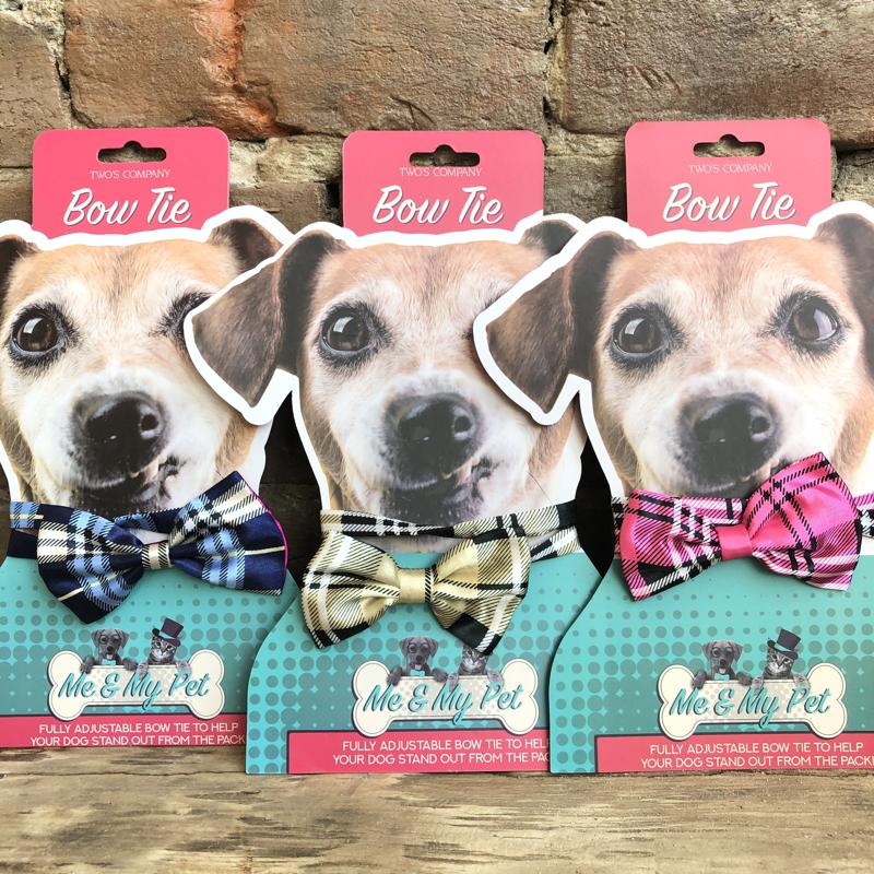 Pet Bow Tie Plaid (Pink, Gold, Blue)