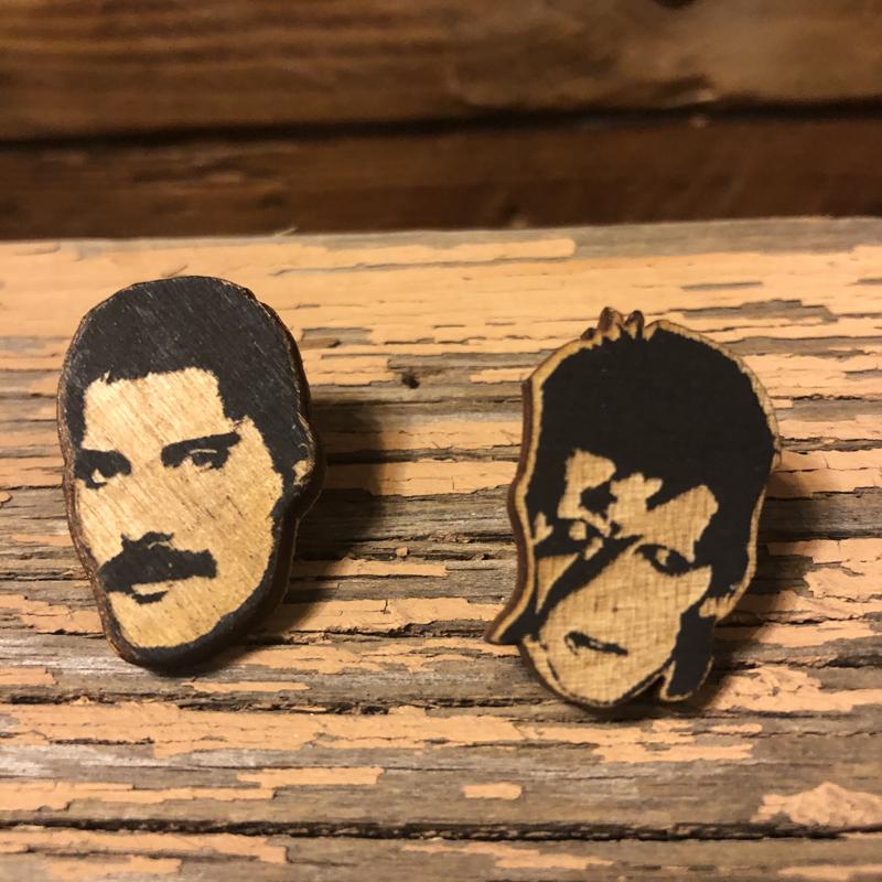 Under Pressure Freddie and David Bowie Wooden Pin