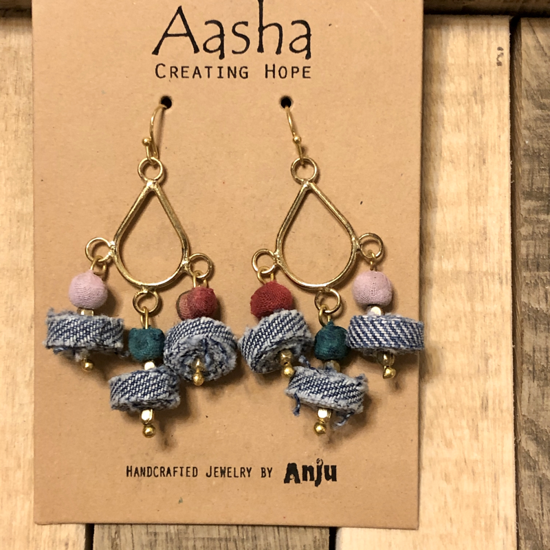 Aasha Brass and Sari/Denim Bead Earrings