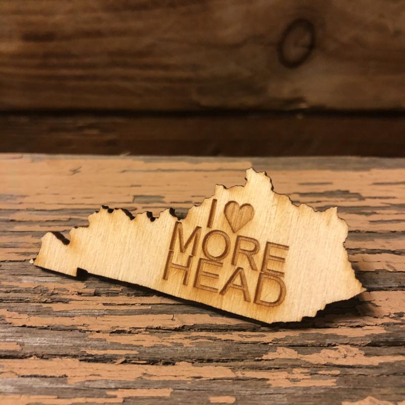 I Love Morehead Wooden Pin