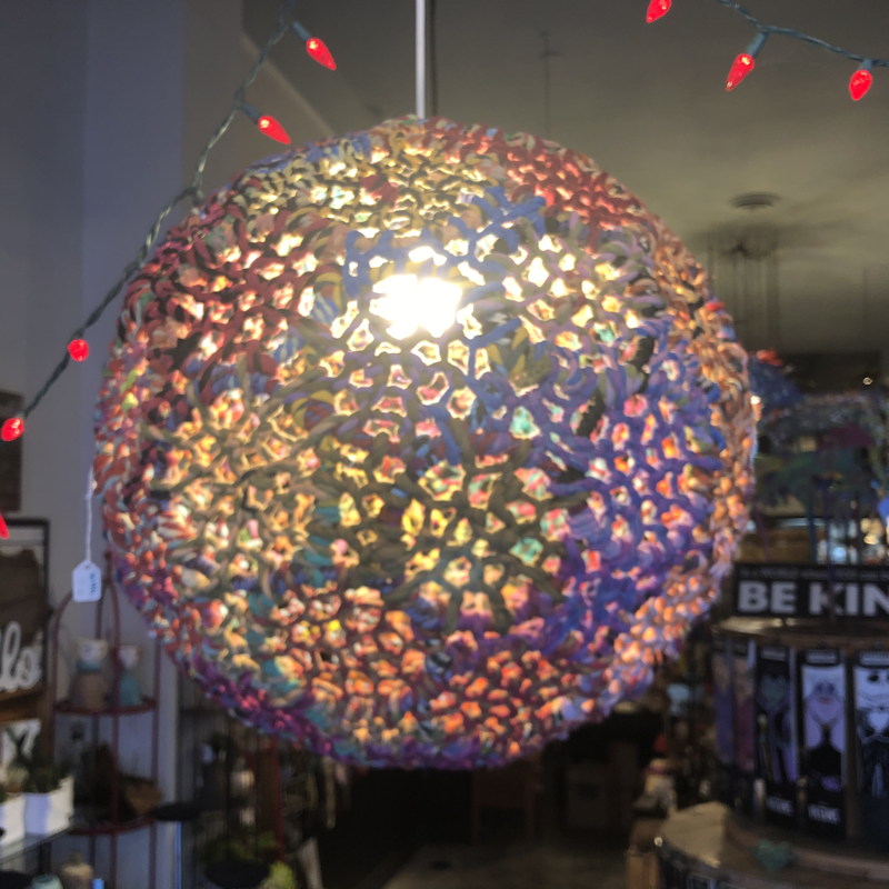 India Handicraft Colored Jute Hanging Lamp