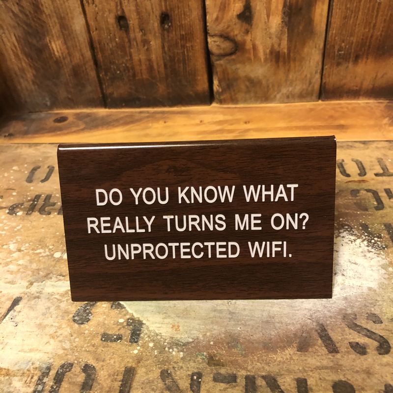 Large Desk Sign Unprotected WIFI