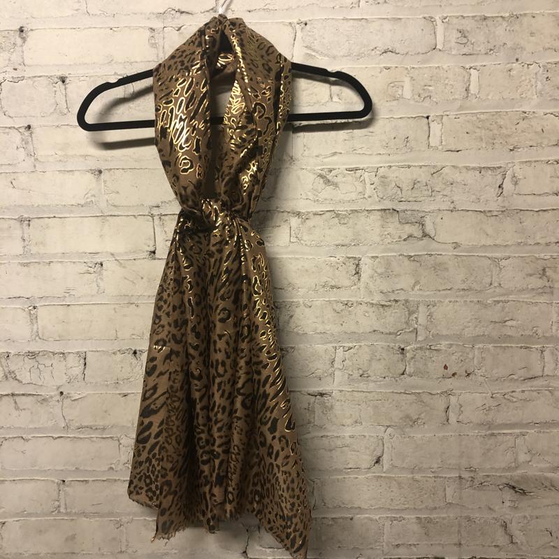 Summer Scarf Leopard Print Scarf Metallic Gold
