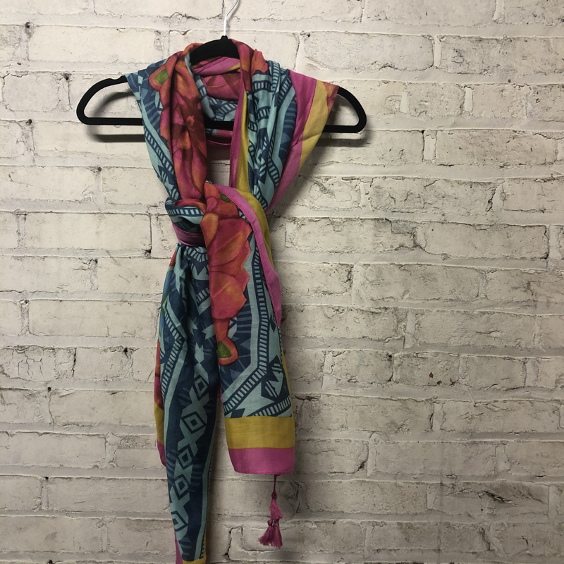 Summer Scarf Pink/Blue/Yellow/Turquoise