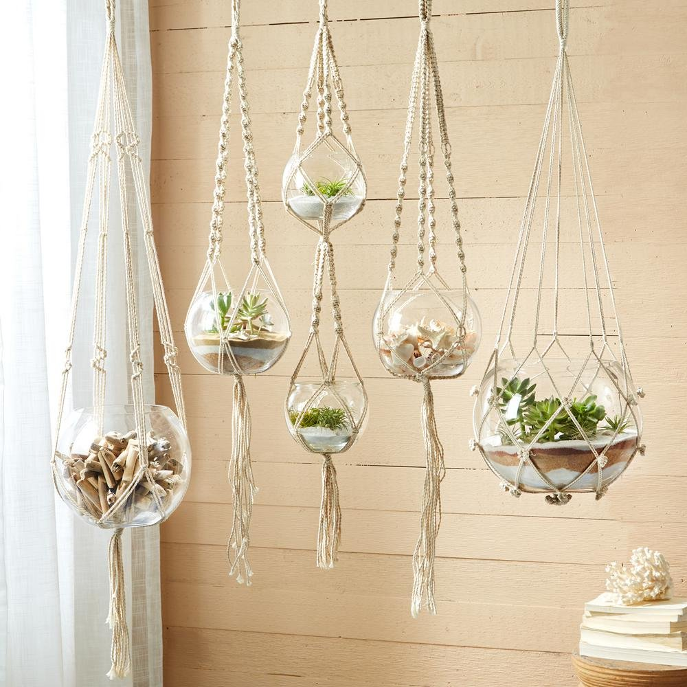 Two's Company Hanging  Macrame and Glass