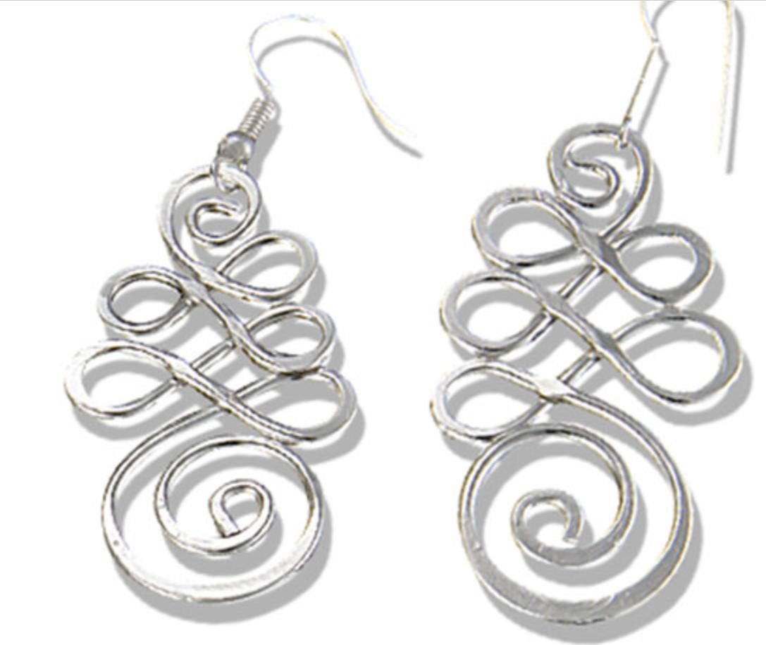 Anju Silver Pl Loops Swirls Earrings E335