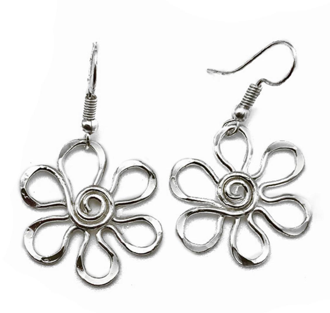 Anju Silver Pl Daisy Earrings Sm ES103