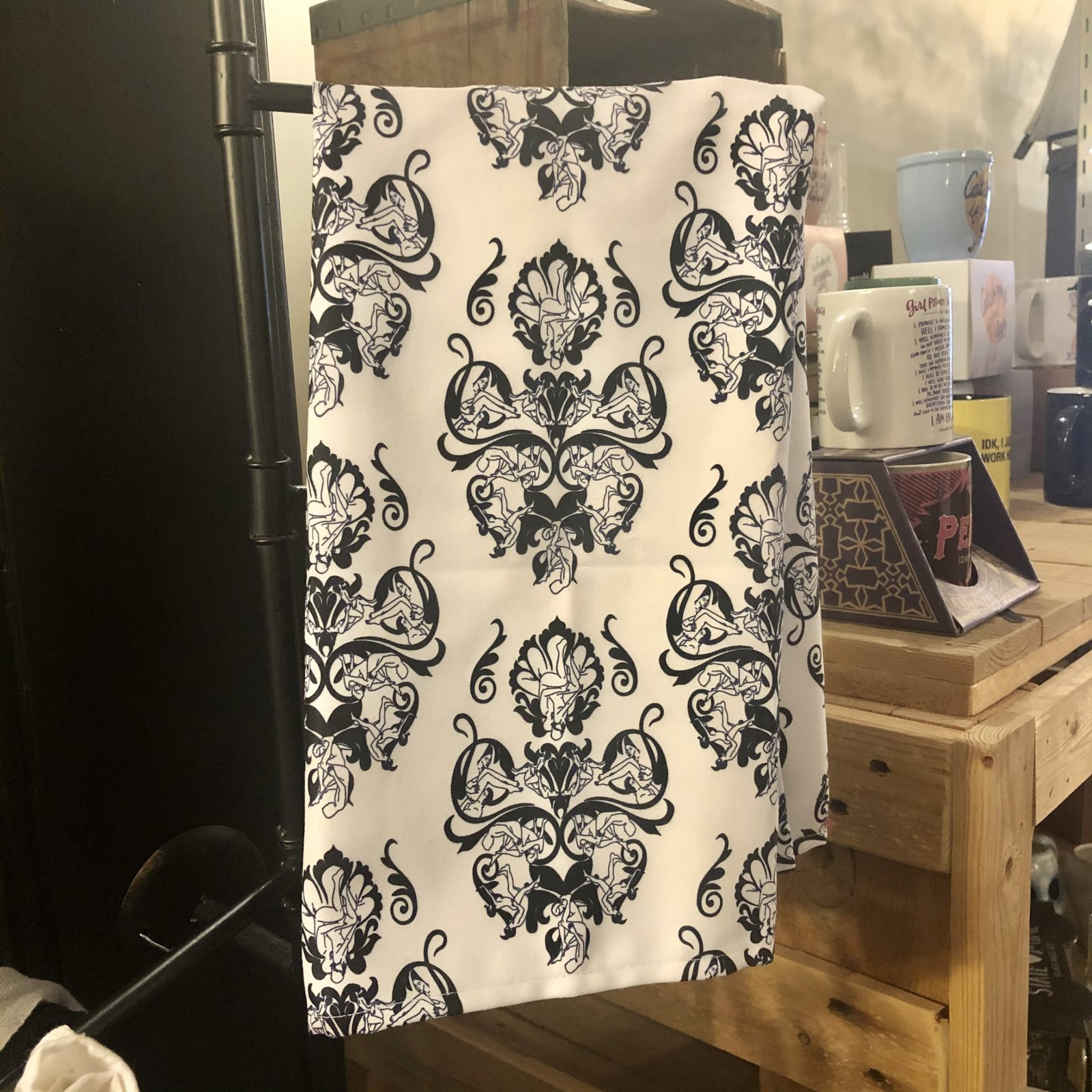 Damask Black and White Tea Towel