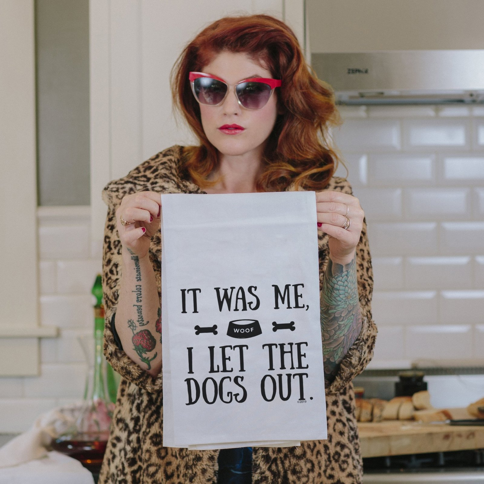 Twisted Wares I Let the Dogs Out Tea Towel