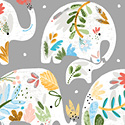 Ellie Flora Elephant Blue 51357-1