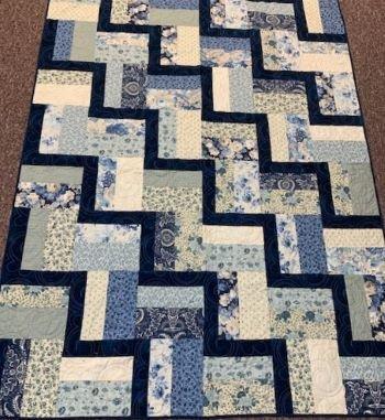 Shop Hop Quilt Blue and Cream